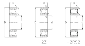 Чертеж подшипника 6201, 6201-2RS, 6201zz