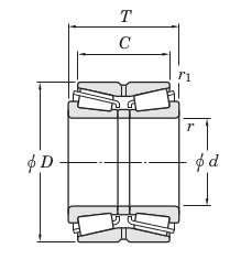 Роликовые двухрядные конические подшипники - чертеж