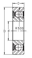Опорный ролик - однорядный шарикоподшипник LR 608 2RSR, NPPU