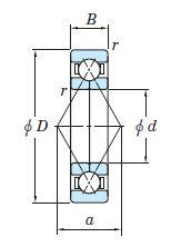 Чертеж радиально-упорного подшипника QJ222